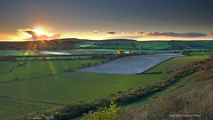 South Downs National Park, East Sussex, England. (PANDOOZY PHOTOS) Tags: chanctonburyhill lancingcollage riveradur rollinghills shorehambysea southernengland sunset autumn october southdownsnationalpark southdownsway river trees landscape panoramic adur agriculture england uk gb greatbritain britishcountryside englishcountyside aonb fields unitedkingdom farming farmland findon washington south scenic grass hills