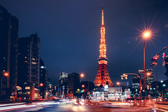 Busy street at night with tokyo tower in the distance in tokyo, Japan (Patrick Foto ;)) Tags: architecture asia attraction background building buildings business busy cars city cityscape concept copyspace dark downtown dusk east evening famous fast illuminated japan japanese landmark landscape life light metropolis modern motion night office place road scene scenery skyline skyscraper speed street tokyo tourism tourist tower traffic trail travel twilight urban view tokyoprefecture jp