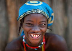 Portrait of a smiling Muhacaona  tribe woman, Cunene Province, Oncocua, Angola (Eric Lafforgue) Tags: adult africa africantribe angola angolan colourimage cultures cuneneprovince day developingcountries ethnicgroup headshot headwear horizontal humanbeing indigenousculture jewellery lifestyles lookingatcamera mucawana muhacaona muhakaona oncocua oneperson onewomanonly oshiwawbo outdoors photography portrait ruralscene smile smiling tribal tribe ang0k6g0428