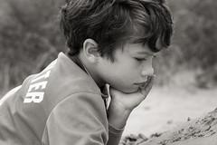 Boy on the dunes (bożenabożena) Tags: portrait kid child boy portraitbw summer dunes sand canonphotography portret dziecko portretbw lato wydmy piasek reverie zaduma