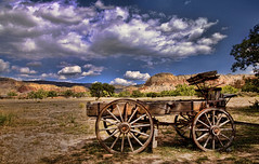 Transport Buggy or Adult Wagon (msuner48) Tags: d750 acr5 cs4 sky clouds hills wagon plain grass sage trees topazlabs nikcollection nikonafs24120mmf4ged