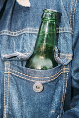 Untitled (reinfected) Tags: beer pocket denim button bottle contrast flash street candid photography photo