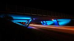 The blue bridge (Steenjep) Tags: herning jylland jutland danmark denmark bro bridge road vej motorvej motorway light lys blå blue skygge shadow konstruktion struckture