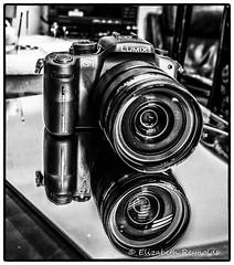 Day 290. (lizzieisdizzy) Tags: blackandwhite blackwhite black whiteandblack white whiteblack monochrome mono monotone monochromatic tabletop reflections reflection reflective reflect reflecting refection mirrorimage mirror lumix
