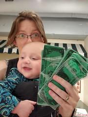 Adventures with currency (quinn.anya) Tags: eliza baby quinn selfie money cash habitot playmoney