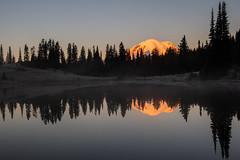 Mount Rainier Reflections (jeff's pixels) Tags: scenic nature pond mountrainier mountrainiernationalpark nationalpark reflection mountain lake water sunrise mist washington pnw outdoor hiking explore landscape