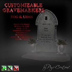 ღ ♡  Gravemarkers - Fog & Urns Lt by Page Creations™ ♡ ღ (Raven Page) Tags: halloween props decor mesh spooky scary fog pumpkins gothic goth