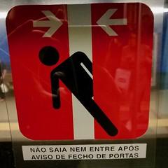 Lisbon 2018 – Mr. Stick is stuck between the doors (Michiel2005) Tags: sign warning waarschuwing mrstick stick bord metro underground lissabon lisbon lisboa portugal