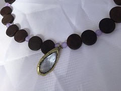 Frosted Purple, Wooden Coin, and Gold & Lavender Gem Pendant on Beaded Necklace, nickel free by SilverSkyByJanet (janetdmorris) Tags: etsy crafts shopping frosted purple wooden coin gold lavender gem pendant beaded necklace nickel free by silverskybyjanet