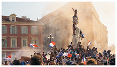 After the World Cup Final, Nice, France (Bigmob Dontwannastop) Tags: football soccer ball sport world cup match france croatia winner celebretion poeple flag square statue crowd building apollo