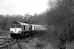 Tondu 71993bw (kgvuk) Tags: tondu station railwaystation railway tondustation maestegbranch train locomotive diesellocomotive class66 66230 dbcargo railtour valleyofthewitch