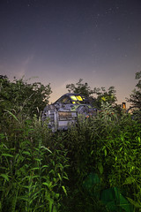The Fallen Meteor ([Nocturne]) Tags: noctography lightpainting plane planegraveyard urbanexploration urbex meteor airfield graffiti nightphotography nocturne lowlight longexposure canon 5dmkii stars startrails ledlenser p7 flashgun lightinggels rosco overgrown forgotten abandoned abandonedplane decay 28dayslater nettles raf aircraft