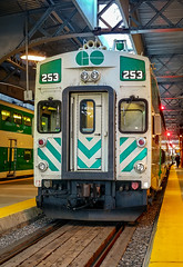 GO Transit #253 getting ready for a lakeshore west run to Aldershot at the platform at Toronto's Union Station. 253 is a Bombardier Bilevel coach car manufacturered around 2006-2007 (colin.taggart123) Tags: 253 railfanning bombardier toronto unionstation bilevel