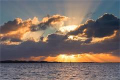 Sun Rays! (karindebruin) Tags: johan nederland thenetherlands voorneputten westvoorne zonsondergang zuidholland beach clouds sand strand sunset water wolken zand visnetten fishingnets zonnestralen sunrays