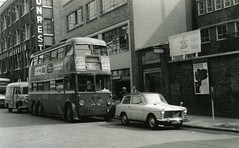 June 1961 -  London Trolleybus 1793 - HYM793 outside Shoreditch College for the Clothing Industry, Curtain Road, Shoreditch. (RTW501) Tags: q1 austina40 bedford commer shorditch clothingcollege hym793 trolleybus trolley london parkingmeter