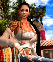 Je suis rentrée (♛ Baronne ♛) Tags: secondlife slavi casual look fashion mademoiselle whitewidow tattoo dubai ison ripped jeans tableauvivant hairfair kekeland teefy c88 collabor88 sexy cleavage bra sweater shadow pic picture photographer style accessory accessoires milkmotion cowry necklace sl avi avatar 3d fr mesh sun soleil summer end