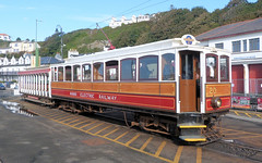 Manx Electric Railway - Winter Car No. 20 and Trailer No. 46 stand at Derby Castle Douglas with the 11.10 to Laxey on the 3rd September 2018 (trained_4_life) Tags: iom isleofman mer manxelectricrailway douglas derbycastle wintercar tram interurban