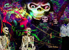 Halloween Fright (brillianthues) Tags: halloween fall skeletons fright holiday colorful collage photography photmanuplation photoshop