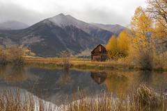 Barn at Twin Lakes, Colorado (MiriamPoling) Tags: barn old reflections scenic mountain twinlakes colorado fog autumn fall yellow aspens pond