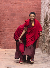 Young Tibetan Monks 1 (Sharpshooter Alex) Tags: china tibet travel asia male young monks buddhist shy smile walking temple