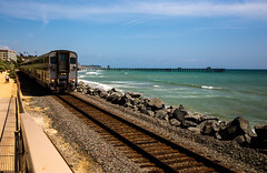 Train View (Aaron Graves Photography) Tags: train track ocean california rock rocks waves pier blue brown clouds sandiego beautiful nature people pathway green perspective