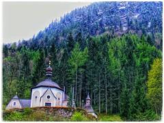 Church, Austria (plismo) Tags: fujifilmfinepixs5700 fujifilm finepix s5700 church austria europe europa hallstatt upperaustria tree forest spire tower alps mountains spring april plismo