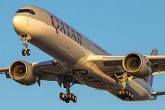 Qatar Airways - Airbus A350-1041 A7-ANB @ London Heathrow (Shaun Grist) Tags: a7anb qr qatar qatarairways airbus a350 shaungrist landing 27r sunset lhr egll london londonheathrow heathrow airport aircraft aviation aeroplanes airline avgeek