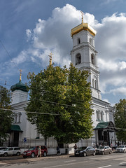 Church of the Ascension. (Oleg.A) Tags: square sunny building nizhnynovgorod church street antique city outdoor churchoftheascension midday town old dome exterior blue colorful design cathedral sky shadow orthodox architecture style cross 1september autumn russia white catedral knowledgeday noon outdoors nizhnynovgorodoblast ru