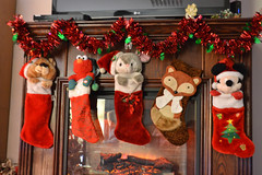 Our Christmas Stockings (Vegan Butterfly) Tags: christmas xmas holiday stockings mickey mouse fox elmo bear garland fireplace