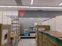 """Somewhat blurry view of the edge of """"seasonaltronics"""" (l_dawg2000) Tags: 1970s 2017 2017closing 90s al alabama bigk bluelightspecial closing colbertco departmentstore discountstore flood goingoutofbusiness kmart liquidation muscleshoals old sale store vintage unitedstates usa"""