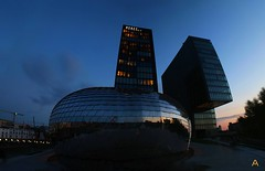 IMG_9837_stitch (AndyMc87) Tags: düsseldorf medienhafen stitched 3 pictures reflection sun set blue hour hotel hyatt regency glas sky architecture building silhouette canon eos 6d 1740 l