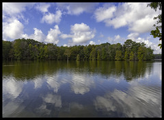 Send in the clouds (Deb Felmey) Tags: reflections reflection cloud clouds water fall trappond delaware stateparks color mirrorimage symmetry