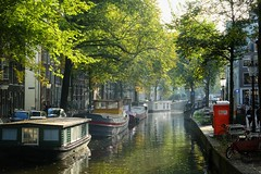 Amsterdam (Alizarin Krimson) Tags: sunlight amsterdam city greenery colours colors boats canal