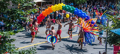 2018 - Vancouver - Pride Parade - 8 of 9 (Ted's photos - For Me & You) Tags: 2018 bc britishcolumbia canada cropped nikon nikond750 nikonfx tedmcgrath tedsphotos vancouver vancouverbc vancouvercity vignetting streetscene street cityofvancouver vancouverprideparade 2018vancouverprideparade prideparade balloons people peopleandpaths pathsandpeople yellowline shadow shadows pride parade vancouverprideparade2018 pride2018 umbrella shorts redshorts entertainers dancers dancing colorful colourful wideangle widescreen