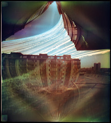 Cosmic City, Fabijoniškės (batuda) Tags: solargraphy solargraph solarigraphy solarigrafia sun solar path track trail arch pinhole obscura stenope lochkamera analog analogue can beercan paper kodak polymax 16x18 undeveloped unfixed 4490photo 2017 landscape cityscape architecture building house sky balcony reflection fabijoniškės vilnius lithuania lietuva summer winter solstice