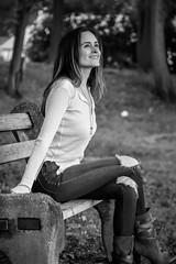 Alessandra-98 (TheseusPhoto) Tags: female girl woman model modeling bnw blackandwhite portrait portraiture monochrome beautiful pretty fashion bench park naturephotography nature pose face sexy