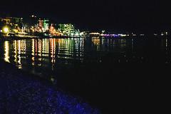 Connect the dots (Melissa Maples) Tags: kemer turkey türkiye asia 土耳其 apple iphone iphonex cameraphone autumn black dark night mediterranean sea water 155beach beach lights blue glare reflection