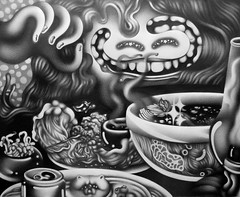 Flavors From the East (Bangin em out) Tags: flavor east drawing pencil inktober halloween food art illustration sexy teeth pho rice lettuce persian cat kitty soda beer