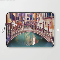 Small Bridge in Venice Laptop Sleeve (marianv2014) Tags: venice italy italia italian smallbridge bridges watercolour watercolor aquarelle water travel fineart canal canals romantic citylandscape cityview turquoise teal aquablue orange italiancity old waterreflection artgifts affordableart citysymbols artwork art outdoors colorful beautiful tourism city europe contemporary european landmark charming laptop sleeves