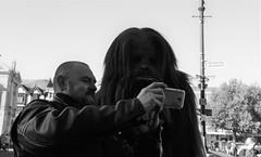 Selfie with Chewbacca (Bury Gardener) Tags: streetphotography street streetcandids snaps strangers candid candids people peoplewatching folks 2018 bw blackandwhite monochrome mono nikond7200 nikon england eastanglia uk buttermarket