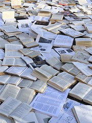 Literature Vs Traffic event (danbruell) Tags: book art installation free reading discard mind smart statement important wonderful love street spectacle hardcover paperback