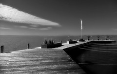 silence on the lake (christikren) Tags: lake neusiedlersee austria christikren himmel sky blackandwhite sw burgenland österreich boardwalk holzsteg uferpromenade herbst panasonic europa see stille silence