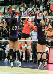 Through the block (RPahre) Tags: volleyball b1g bigten champaign illinois northwesternuniversity northwestern universityofillinois huffhall huff bethprince brittbommer alanawalker swing block kill