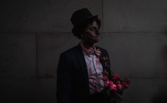 the happiest day of my life after death (p.g604) Tags: worldzombiedaylondonovercastrainmarblearch happiest day life after death 20181006imgp2570edit groom bouquet roses wall suit tux top hat makeup pinks reds pentax k1 wideangle woeful solace introspection
