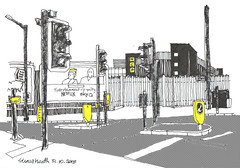 Stockport (jamesdyson) Tags: stockport cheshire shawheath road ncp carpark railings advertising trafficlights signs palisade offices airconditioning lampposts bollards highway crossing sketch artpen pastel photoshop netflix sky