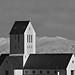 Hekla Volcano behind Skaholt Cathedral