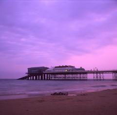 Velvia Cromer Yashica (StuMcP) Tags: cromer yashicamat124g summer sunset pink stuartmcpherson pier norfolk coast beach 120 iso50 velvia