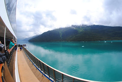 Cruising Endicott Arm fjord. (Infinity & Beyond Photography) Tags: cruising endicott arm fjord carnival legend cruise ship deck mountains water 8mm samyang fisheye photos alaska