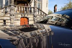Gouda townhall reflection (PaulHoo) Tags: fujifilm x70 gouda 2018 building townhall cityhall reflection car sun city uban