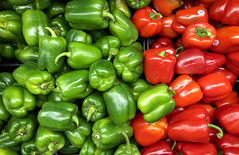 Peppers at the supermarket 2018 (Gord McKenna) Tags: gordmckenna gord mckenna iphone peppers red green colour save foods saturation vibrance redgreen vegetables produce